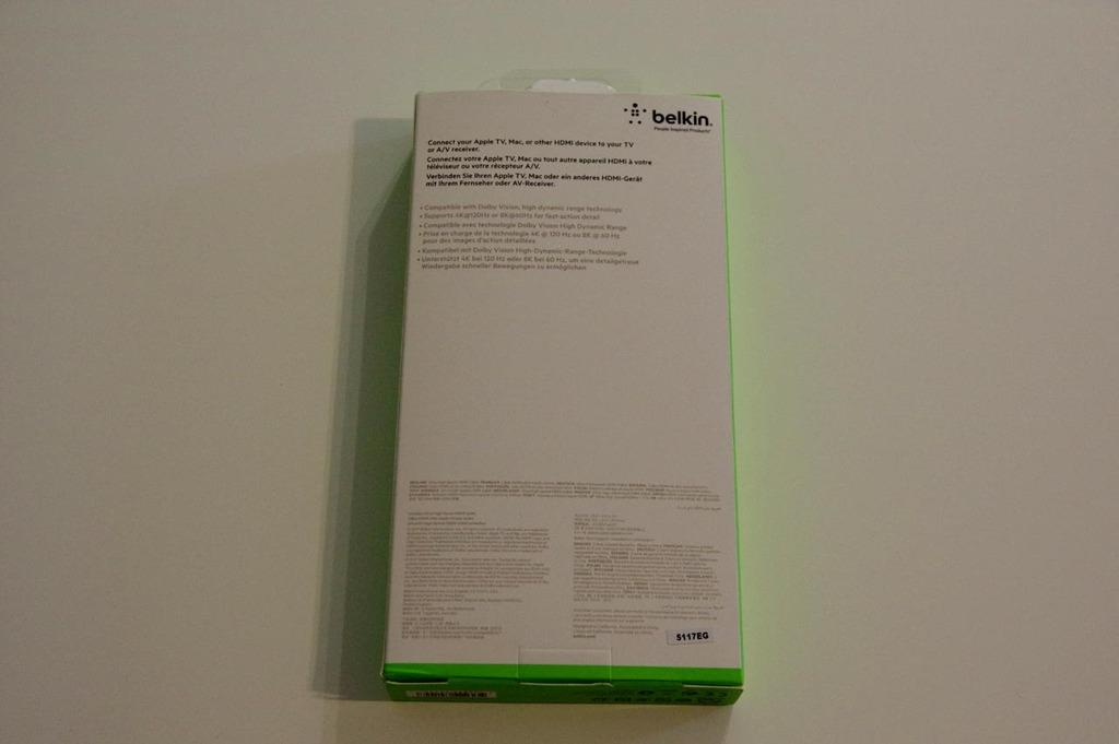 Climaxe - Dos de l'emballage du câble HDMI 2.1 4K Belkin